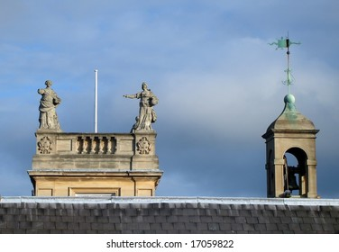 Oxford skyline, looking at historic university buildings across the rooftops.