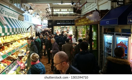 Oxford UK - 06/24/2015: Produce and shoppers at Indoor Market