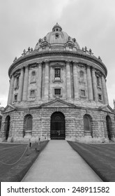 Oxford, UK - 25th of May 2014: Radcliffe Camera a part of Bodleian Library, Oxford University on 25th of May 2014 in Oxford, UK (black and white)