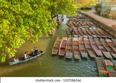 OXFORD, UK - APRIL 20, 2018: Small boats or 'punts' on the river in Oxford
