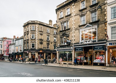 Oxford, UK - August 12, 2015: High Street in Oxford a rainy day.  This street is the center of the city and is well known for Major buildings and commerce.