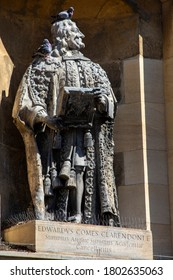Oxford, UK - August 20th 2020: A statue of Edward Hyde, the 1st Earl of Clarendon, on the exterior of The Clarendon Building in the university city of Oxford, UK.