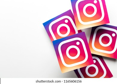 OXFORD, UK - AUGUST 22nd 2018: A collection of Instagram logos printed onto paper. Instagram is a popular social media application for sharing images and videos