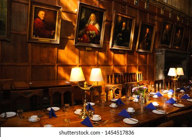 OXFORD, UK - AUGUST 23, 2017: Great Dining Hall in Christ Church college of the University of Oxford in England
