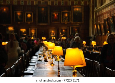 OXFORD, UK - AUGUST 23, 2017: Visitors in Great Dining Hall in Christ Church college of the University of Oxford in England.