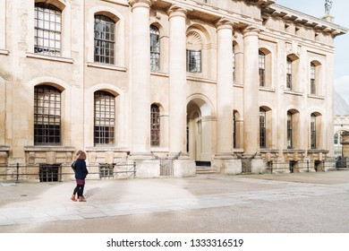 Oxford, UK - February 10, 2019; Street view on Clarendon Building. The Clarendon Building is an early 18th-century neoclassical building of the University of Oxford.