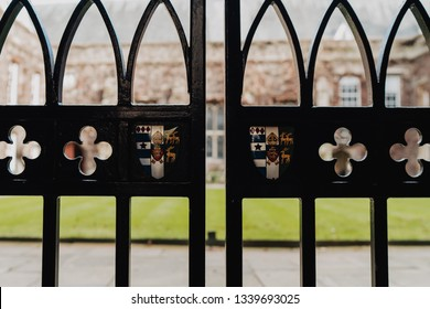 Oxford, UK - February 10, 2019; Lincoln college blazon on the gate of the college. Lincoln College is one of the constituent colleges of the University of Oxford, situated on Turl Street in Oxford.