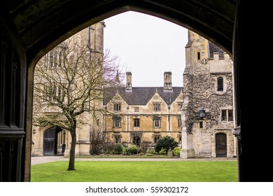 OXFORD, UK - February 2, 2015.  View from an entrance door of the inside courtyard of a college of the prestigious University of Oxford in England during winter.