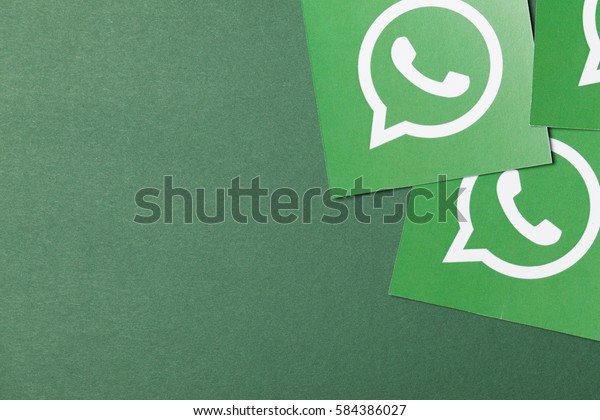 OXFORD, UK - FEBRUARY 21st 2017: A Whatsapp logo printed onto paper. Whatsapp is an instant messaging application for smartphone users.
