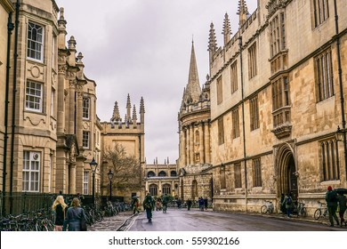 OXFORD, UK - February 5, 2015.  On Cattle Street, Oxford, where All Souls College and the Radcliffe Camera library are located.
