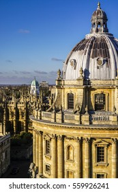 OXFORD, UK - February 6, 2015.  View of the top of the Radcliffe Camera library in Oxford, England.
