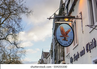 OXFORD, UK - January 31, 2015.  The sign of the popular pub Eagle and Child on St Giles Street, where J. R. R. Tolkien used to meet with an Oxford writers' group, The Inklings.