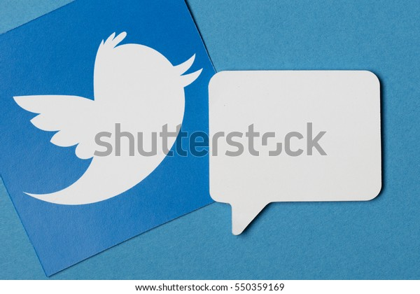 OXFORD, UK - JANUARY 7th 2017: Twitter logo printed onto paper. Twitter is a social networking service and website started in March 2006.