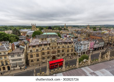 OXFORD, UK - JULY 19, 2015: View of Oriel College of University of Oxford and High Street from the tower of University Church of St Mary the Virgin, Oxford, England.