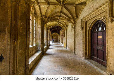 OXFORD, UK - JULY 20, 2015: Old corridors of Christ Church, University of Oxford, England. It is part of the original Priory of St Frideswide which stood before the college was built.