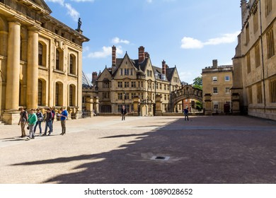 Oxford, UK - June 08, 2015: Clarendon Building in Oxford in a beautiful summer day with Hertford Bridge on Catte Street on background. Oxfordshire, England, United Kingdom