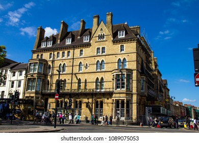 Oxford, UK - June 08, 2015: View of the Randolph Hotel at Beaumont street, behind at the north end of Magdalen Street