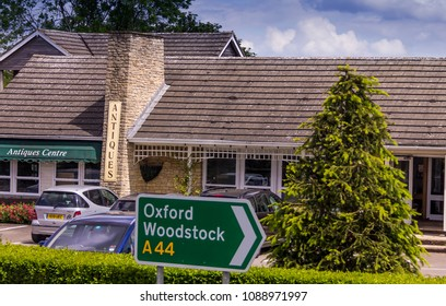 Oxford, UK - JUNE 8, 2015: Road sign of the highway A44 to Oxford and Woodstock