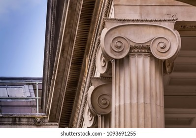 OXFORD, UK - JUNE 8, 2015: Column. Ashmolean Museum of Art and Archaeology . It is the world's first university museum. Oxford. England. UK.