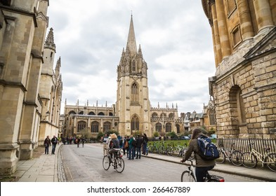 OXFORD, UK - MARCH 27, 2015: University Church of St Mary the Virgin. The oldest part of the church is the tower which dates from around 1270. The church is open to visitors throughout the year.
