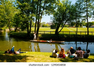 Oxford / UK - May 19, 2018. Small boats or 'punts' on the river in Oxford