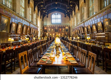 OXFORD, UK - SEPTEMBER 12, 2017:  Christ Church Dining Hall, a famous cinema scene, in University of Oxford, UK