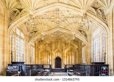 OXFORD, UK - SEPTEMBER 12, 2017 : Bodleian Library, a famous sightseeing place in Oxford, UK