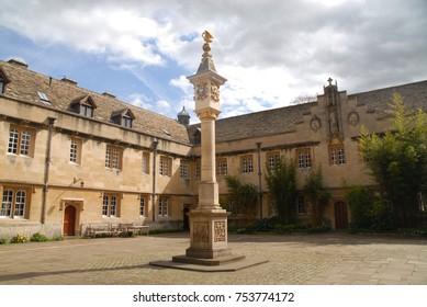 Oxford, United Kingdom - April 12, 2015: Main Quad at Corpus Christi College