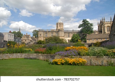Oxford, United Kingdom - August 16, 2015: Meadow, hall and Tom Tower at Christ Church College