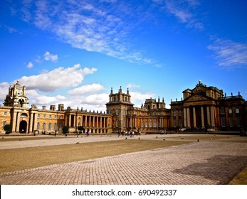 OXFORD, UNITED KINGDOM - AUGUST 20, 2014: A view of Blenheim Palace and its front courtyard during a clear sky sunny day.