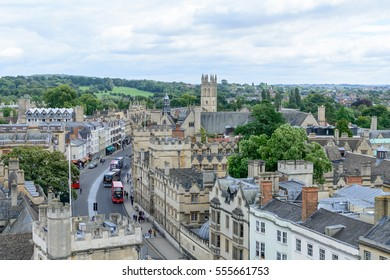Oxford, United Kingdom - August 21, city panorama on August 21, 2016 in Oxford, United Kingdom. Oxford is known as the home of the University of Oxford.