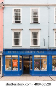 Oxford, United Kingdom - August 27, 2016: One of the Oxford University Press (OUP) shops in central Oxford, United Kingdom.