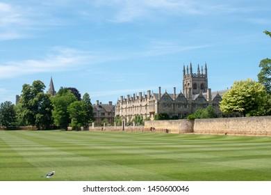 Oxford, United Kingdom - July 4 2019: Merton Field, Merton College