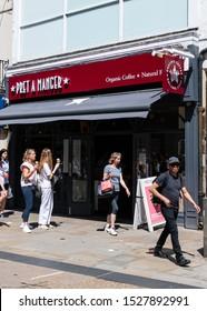 Oxford, United Kingdom - June 29 2019:   The frontage of Pret a Manger restaurant on Cornmarket St