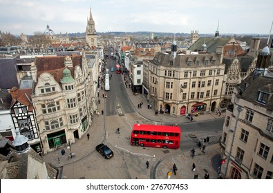 Oxford, United Kingdom - March 25, 2015 - Picture taken from Carfax tower on the corner of St. Aldates, Cornmarket Street, High Street and Queen Street, Oxford, Oxfordshire, England, March 25, 2015.