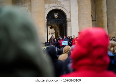 OXFORD, UNITED KINGDOM - NOVEMBER 25, 2019: The first day of eight-day strikes by the University and College Union (UCU), and its members gathered much attention from its members and supporters.