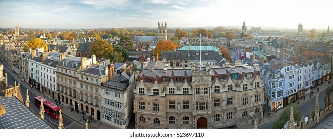 Oxford, United Kingdom - October 31, 2016 - Panoramic view of Oxford and High Street, UK. Picture taken from tower of St Mary, October 31, 2016