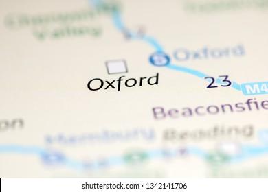 Oxford. United Kingdom on a geography map