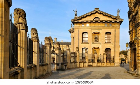 Oxford University, Clarendon Building and statue lined courtyard, England