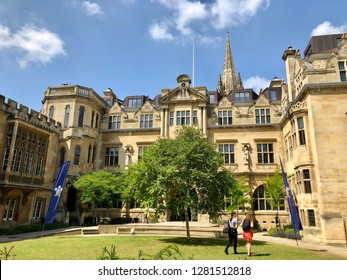 Oxford University, Oxford, UK - 28th June 2018: Campus of Oxford University on an open day for prospective students looking to apply to University. Conceptual image.