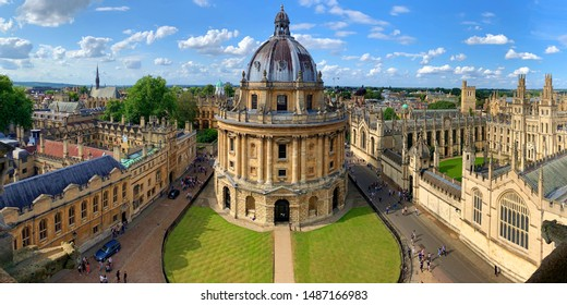 Oxford University, U.K., August 5, 2019. An outside shot of Bodleian Library in Oxford University on a sunny day with partly cloudy skies.