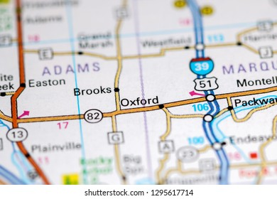 Oxford. Wisconsin. USA on a map
