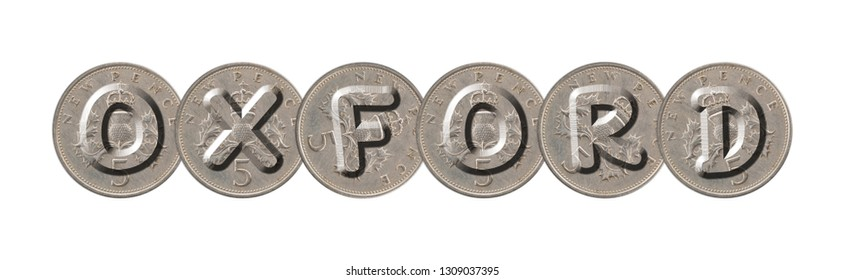 OXFORD  written with old coins on white background