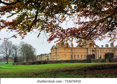 OXFORDSHIRE, ENGLAND- 10 NOVEMBER, 2015: Blenheim Palace in autumn. It is a monumental country house situated in Woodstock, Oxfordshire, England. It was designated a UNESCO World Heritage Site in 1987