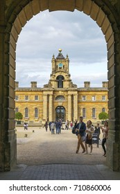 OXFORDSHIRE, ENGLAND- August 10, 2017: Blenheim Palace is a monumental country house situated in Woodstock, Oxfordshire, England. It was designated a UNESCO World Heritage Site in 1987