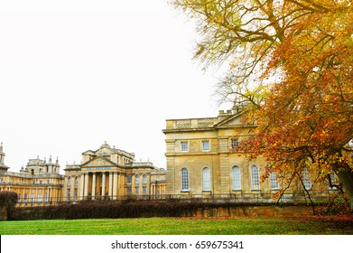 OXFORDSHIRE, ENGLAND- NOVEMBER 10, 2015: Landscape of Blenheim Palace is a monumental country house situated in Woodstock, Oxfordshire, England. It was designated a UNESCO World Heritage Site in 1987
