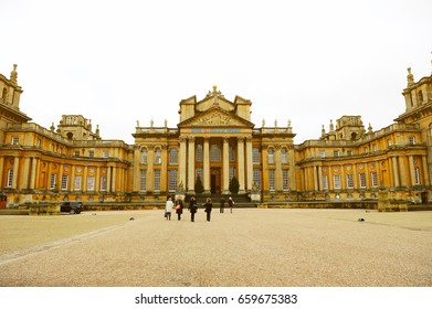 OXFORDSHIRE, ENGLAND- NOVEMBER 10, 2015: Blenheim Palace is a monumental country house situated in Woodstock, Oxfordshire, England. It was designated a UNESCO World Heritage Site in 1987