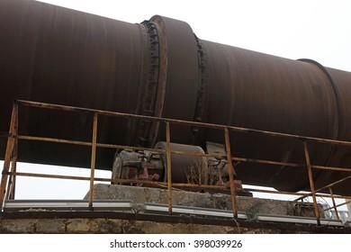 oxidation rust rotary kiln equipment, closeup of photo