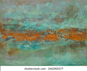 Oxidized Metal blue green Copper Patina and iron oxide abstract texture painting