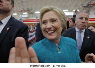 """OXNARD, CA - JUNE 04, 2016: former Secretary of State Hillary Clinton and Democratic Presidential Candidate meets supporters at a """"Get out the vote"""" rally at Hueneme High School in Oxnard, California."""